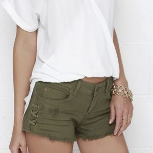 Billabong distressed Olive Green Cutoff shorts